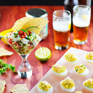 Pickled Halibut Ceviche & Spicy Crab Deviled Eggs.
