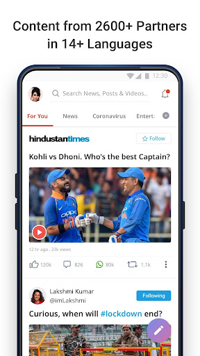 Dailyhunt (Newshunt)- News, Videos, Cricket 16.1.2 screenshots 1