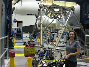 """Photo: Me in the Robot Operation Area (note the sign), with the robotic """"Six Degrees of Freedom"""" behind me."""