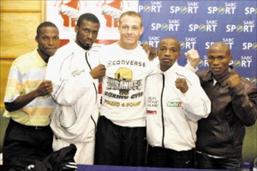 OUT IN FORCE: Zolani Tete and Jeffrey Mathebula, Michael Schultz,  Moruti Mthalane and Klaas Mboyane will be in action at Wembley Arena on Friday night. Pic: Bafana Mahlangu. 17/11/2009. © Sowetan.