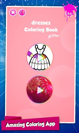 Glitter Dresses Coloring Book For Kids screenshot 1