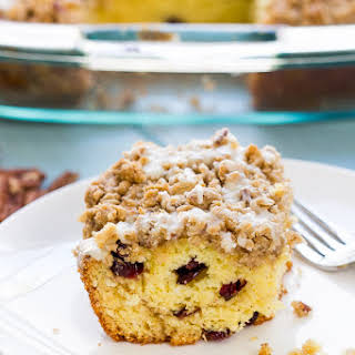 Easy Cranberry EggNog Coffee Cake.