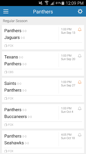 Football Schedule for Panthers
