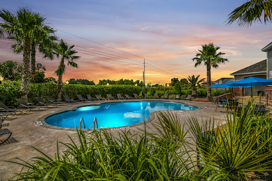 Resort-style swimming pool with lush landscaping at dusk