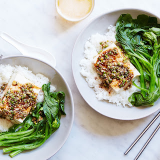 Warm Tofu & Spicy Garlic Sauce with Rice and Choy Sum Recipe