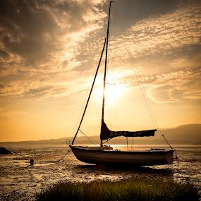Fleet Bay by James Johnstone - Transportation Boats ( sunset, fleet bay, sandgreen,  )