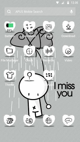 android I MISS YOU theme for APUS Screenshot 1