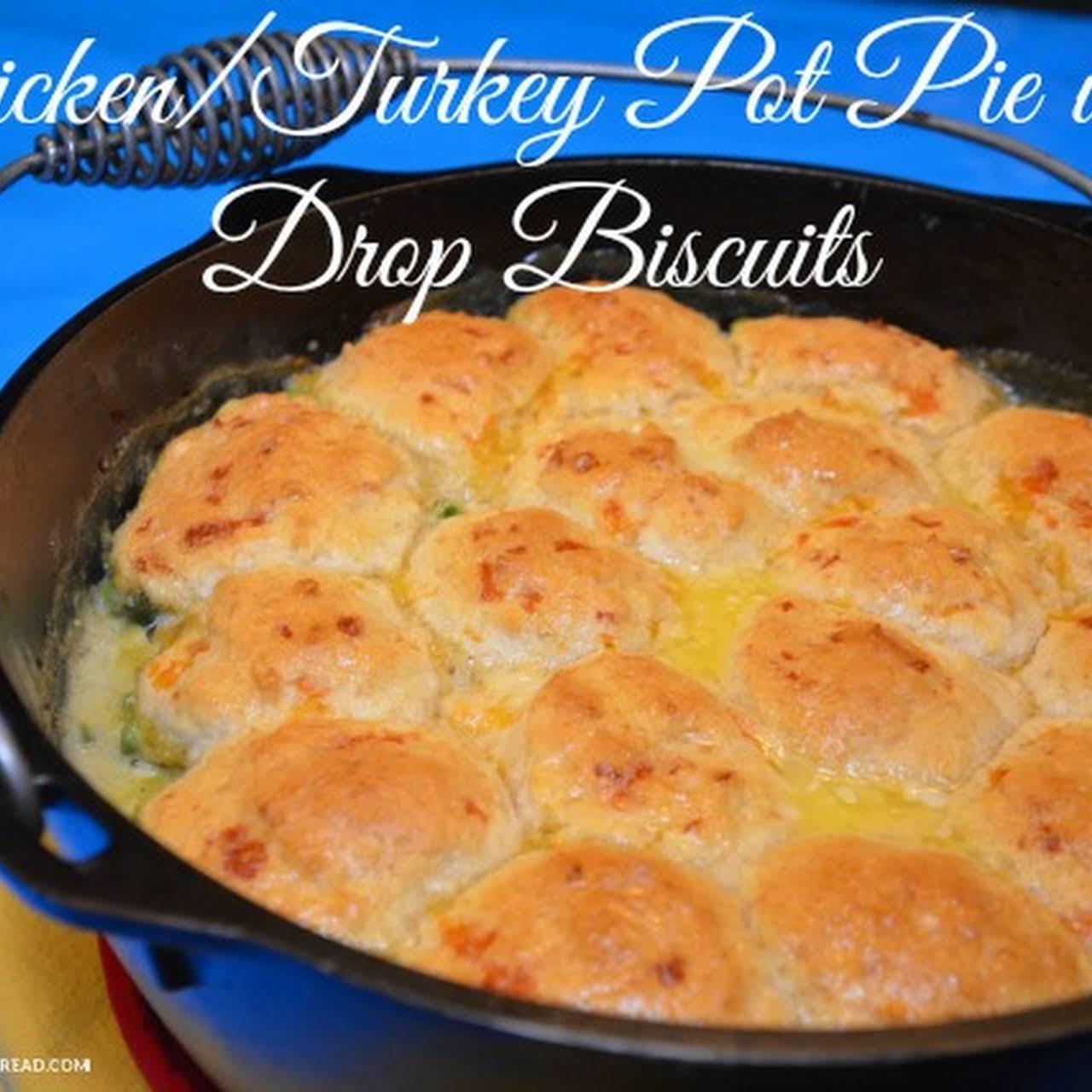 Chicken/Turkey Pot Pie with Garlic Drop Biscuits
