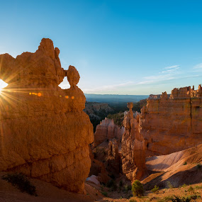 Bryce Canyon by Peter Luxem - Travel Locations Landmarks ( sunburst, national park, thor's hammer, bryce, flare, bryce canyon, usa )