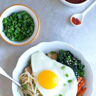 Vegetarian Bibimbap with Crispy Tofu and Quinoa.