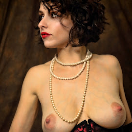 by Todd Yoder - Nudes & Boudoir Boudoir ( boudoir, color, backdrop, pearls, necklace, nude, female )