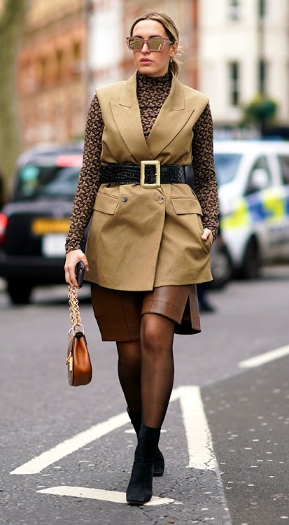 Camila Carril sports different shades of brown during LFW 2020.