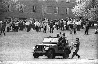 Photo: Major Jones gets onto the jeep and then soon after the announcement is made to disburse, This is another crowd gathering. Notice the school official in the suit on the right.