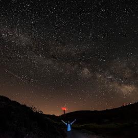 milky way by Enver Karanfil - Landscapes Starscapes ( red, milky way, mountains, saman yolu, stars )