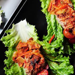 Korean Beef Lettuce Wraps with Kimchi.