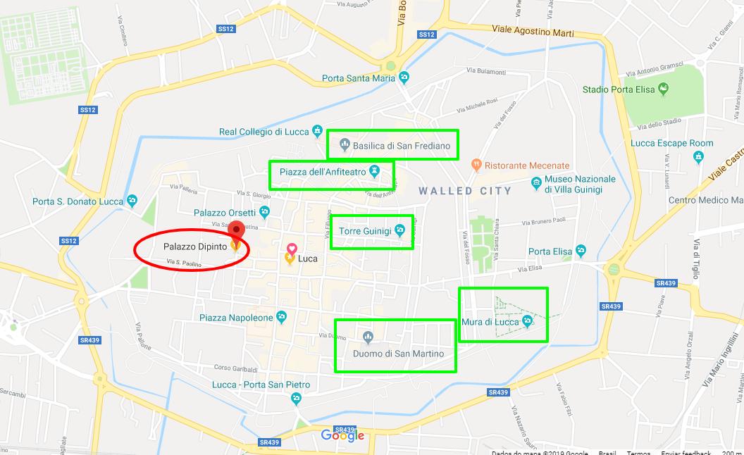 Captura de tela do Google Maps indicando o Palazzo Dipinto e outros pontos turísticos da cidade.