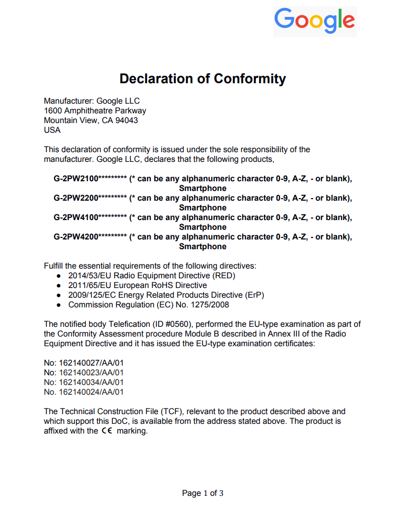 Declaration of Conformity 2016 page 1