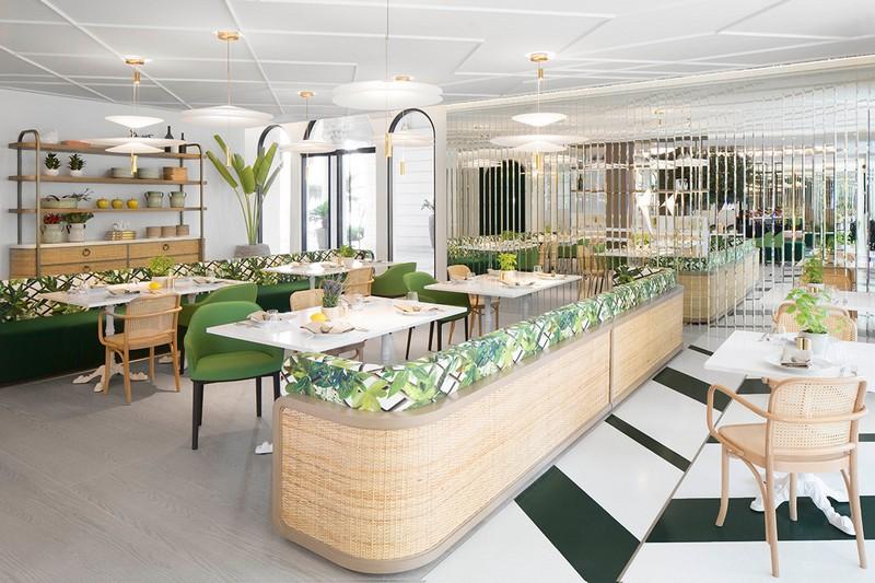 Mirrored restaurant interior at Shabeebek in Dubai, United Arab Emirates.