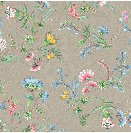Pip 2020 La Majorelle Tapet med blommor och skimmer - Khaki