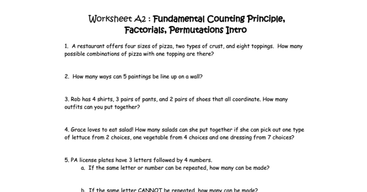 Fundamental Counting Principle Worksheet Pixelpaperskin – Fundamental Counting Principle Worksheet