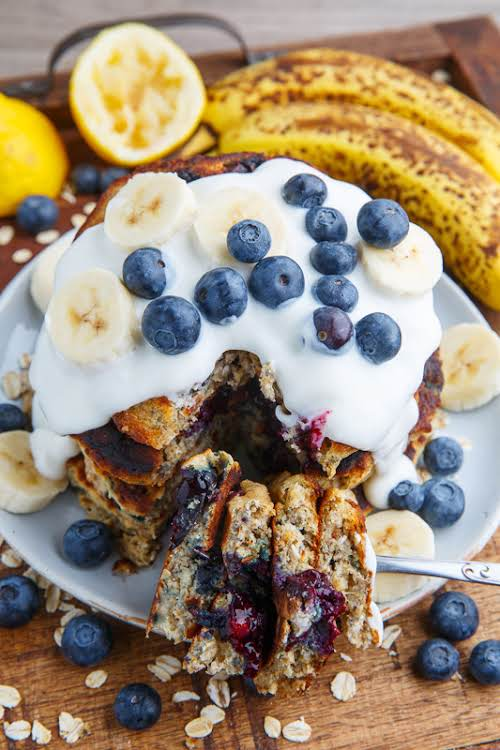 "Blueberry Banana Oatmeal Pancakes ""Pancakes are a perfect base to add flavour..."