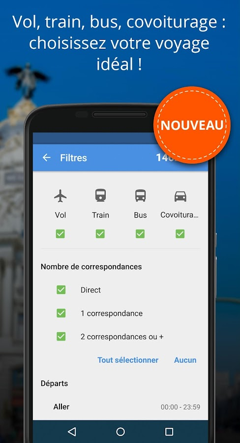 Avion, Train, Bus, Covoiturage – Capture d'écran