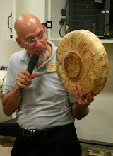 Photo: Mike Colella shows the base of his spalted end-grain bowl