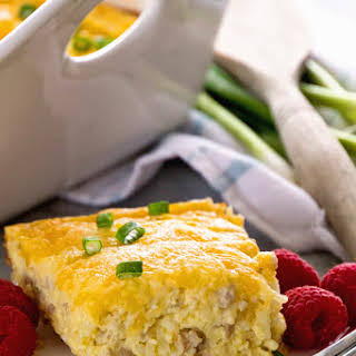 Sausage & Cheese Hash Brown Breakfast Bake.