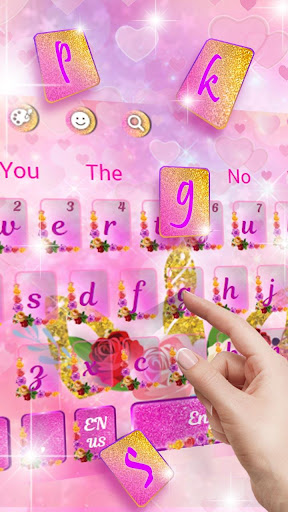 Pink Flower Unicorn Keyboard Theme screenshots 2