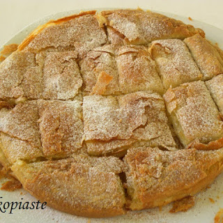 Bougatsa (Phyllo Pastry with sweet cream) and Nistisimi Bougatsa (vegan)