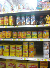 Photo: There are lots of Lipton Tea choices at Walmart. I know the Lipton Honey & Tea packets will be in this area.