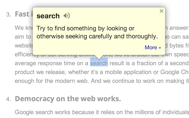 Screenshot of Google Dictionary for Chrome