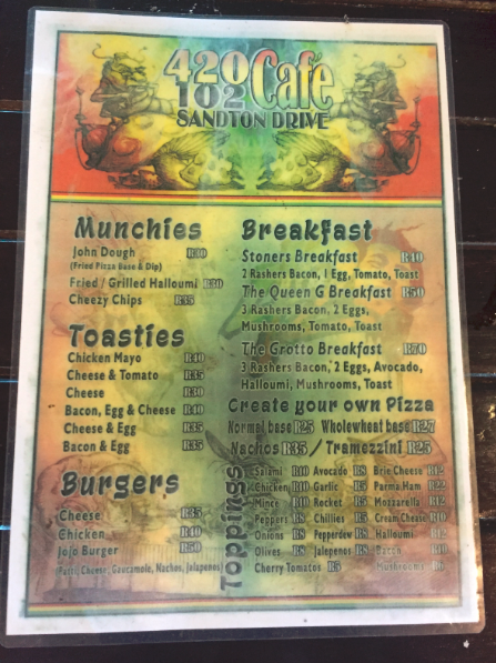 The munchies menu at 420 Café.