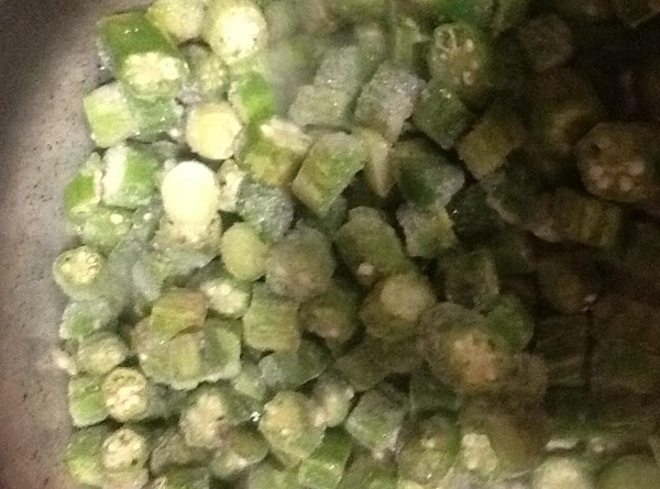 Add okra and water. Simmer on medium until okra defrosts in the pot, about...