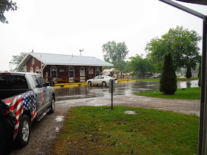Photo: Day 43 Port Huron Pouring rain in Jelly Stone RV park in Port Huron. We rent 4 person cabin for the tenters