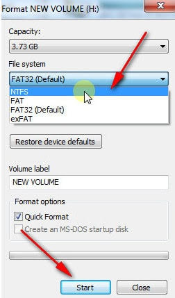 Format FAT/FAT32 to NTFS File System using Windows Built-in Feature