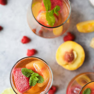Rosé Wine with Fresh Fruit Cubes.