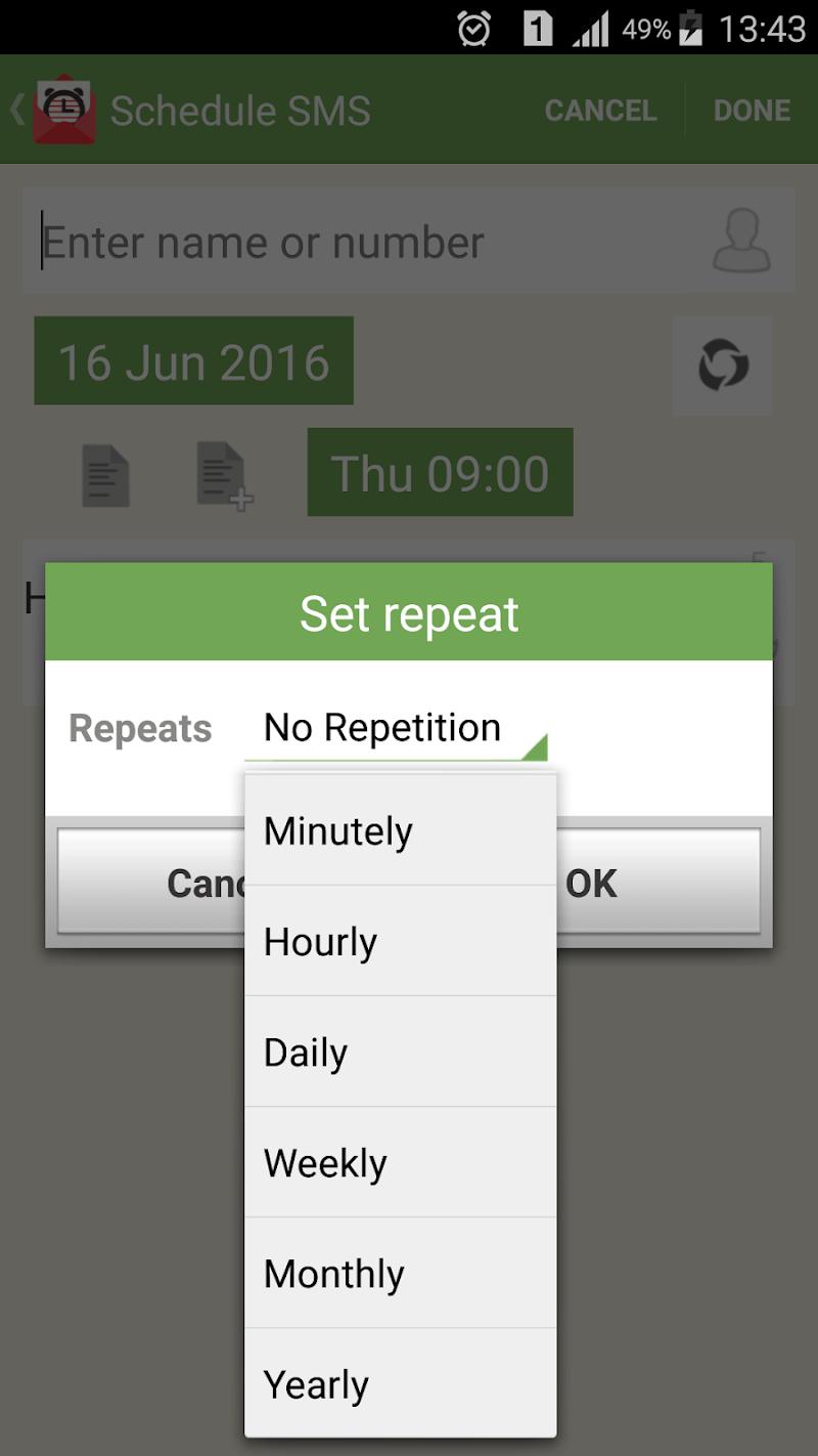 SMS-Call Scheduler Pro Screenshot 2