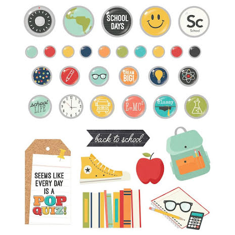 Simple Stories Decorative Metal Brads 34/Pkg - School Life