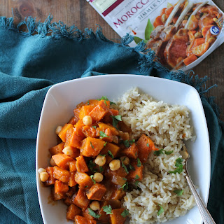 Moroccan Butternut Squash and Sweet Potato Tagine with Chickpeas.