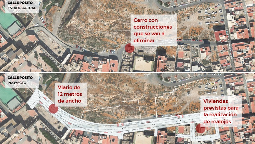 Un vial de 12 metros con aceras de 3 conformarán la nueva calle Pósito