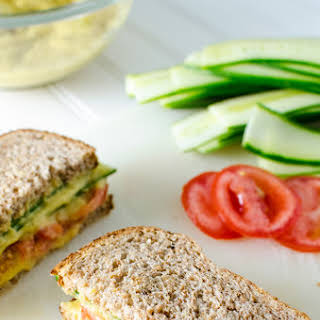 Cucumber Sandwich with Turmeric White Bean Spread.