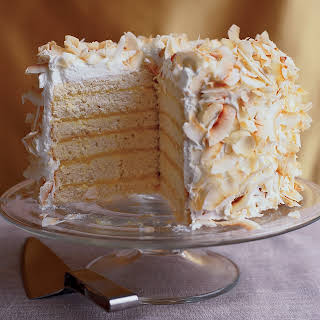 Six-Layer Coconut Cake with Passion Fruit Filling.
