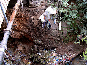Photo: The oued, or stream running through the middle of Sefrou town choked with rubbish