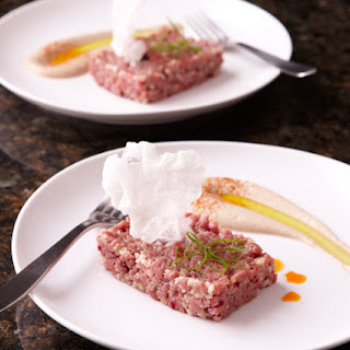 Steak Tartare with Cinnamon, Allspice, and Sesame-Tofu Sauce