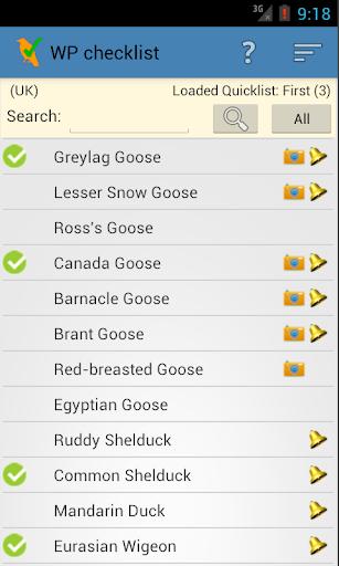 WP & UK Birding Checklist screenshot