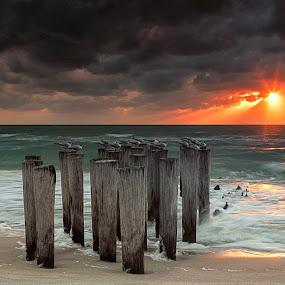 Pole Position by Jessica Meckmann - Landscapes Beaches ( naples, florida, sunset, beach, storm )