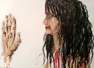 """Photo: """"A Palmistry (in process)"""", 2012, Brenda Clews,18"""" x 24"""", charcoal, oils, oil pastels, oil sticks on triple-primed cotton canvas sheet."""