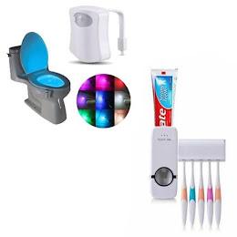 Dozator pasta de dinti + Suport periute + Lampa led toaleta cu senzor