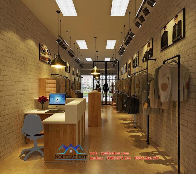 phong cách thiết kế shop thời trang nam sáng tạo